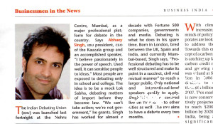 Business India - Abhaey Singh - The Indian Debating Union - June 2010