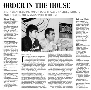 Business Standard- Abhaey Singh - The Indian Debating Union - August 2010