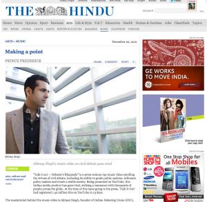 Hindu - 20th December 2012 Abhaey Singh - The Indian Debating Union