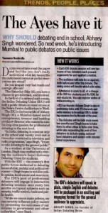 Hindustan Times - Indian Debating Union - Abhaey Singh - 16-05-10 Page 1 - Small