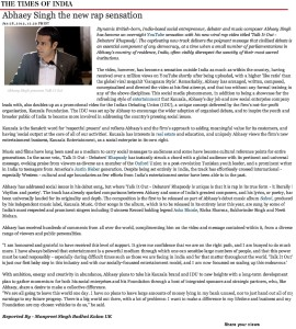 Times of India - Abhaey Singh - The Indian Debating Union 28th Jan 2013